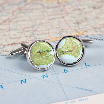 Personalised Atlas Style Map Cufflinks